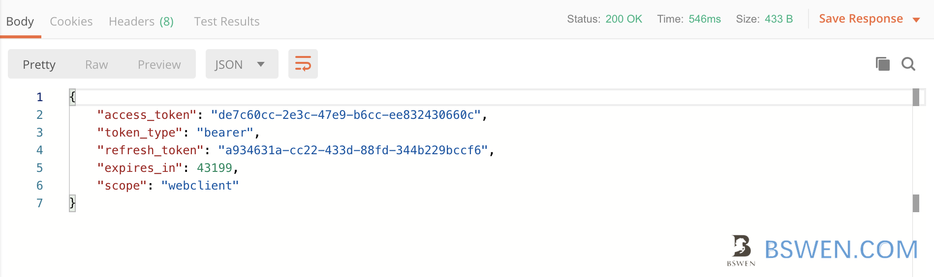 oauth postman test result